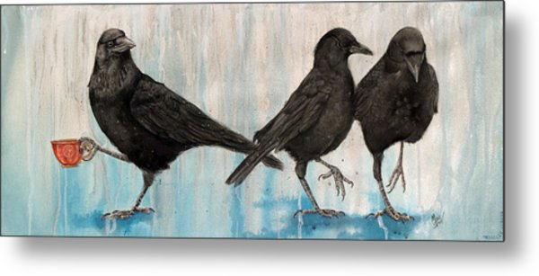 Crow Takes Tea Metal Print