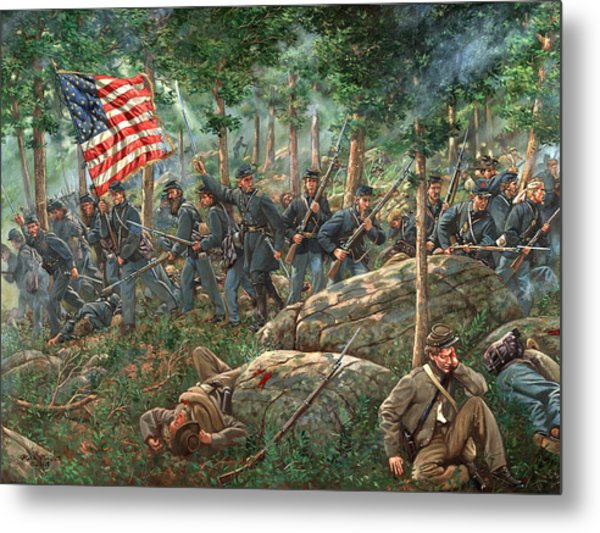 Charge Of The 20th Maine - Joshua L. Chamberlain Leading The 20th Maine Regiment On Little Round Top Metal Print