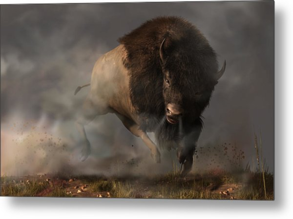 Metal Print featuring the digital art Charging Bison by Daniel Eskridge
