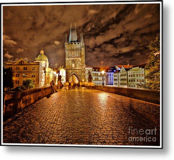 Charles Bridge At Night Metal Print