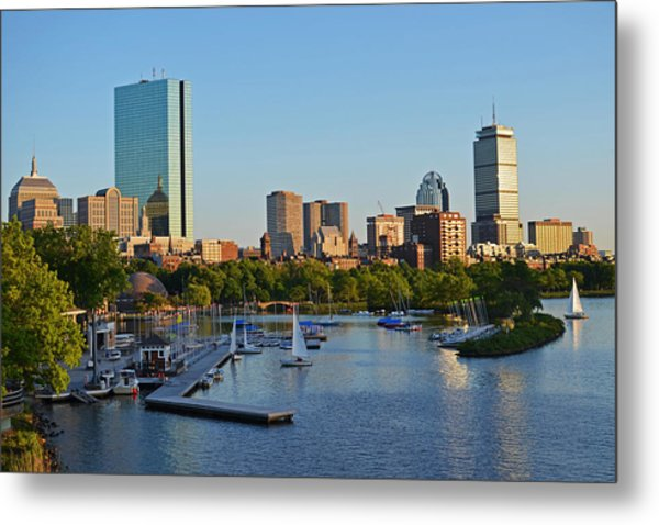 Charles River At Sunset Metal Print