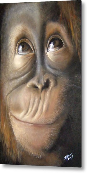 Charles The Monkey Metal Print by Michelle Iglesias