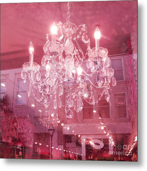 Charleston Crystal Chandelier - Sparkling Pink Crystal Chandelier Art Deco Metal Print