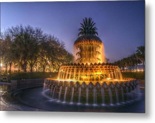 Charleston Pineapple Fountain Metal Print