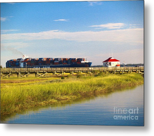 Charleston South Carolina Container Ship Metal Print