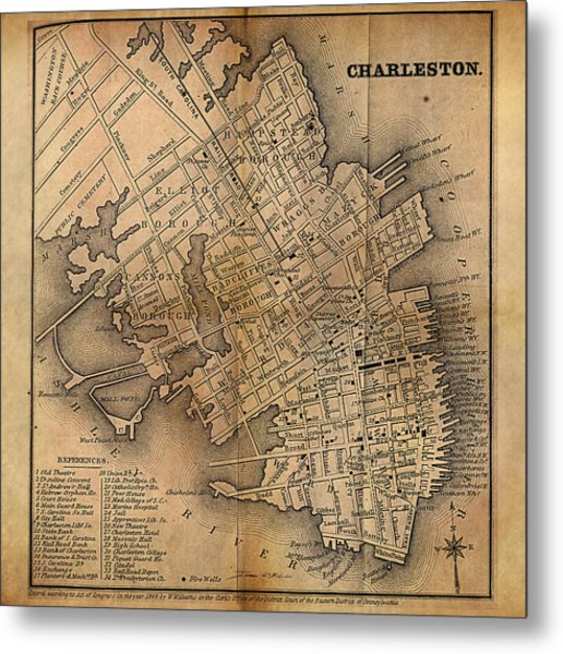 Charleston Vintage Map No. I Metal Print