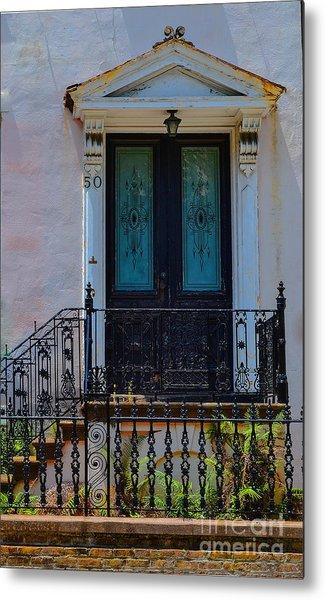 Charleston Wood Door Etched Glass Metal Print