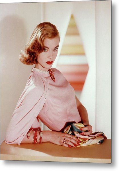 Charlotte Payne Wearing Cartier Jewelry Metal Print by Horst P Horst