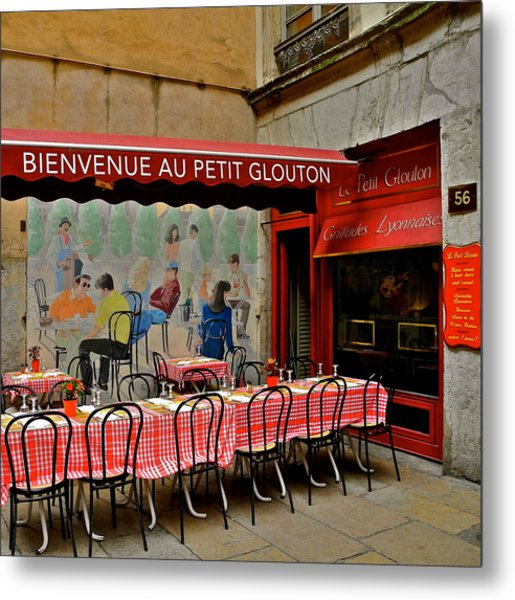Charming French Outdoor Cafe Metal Print