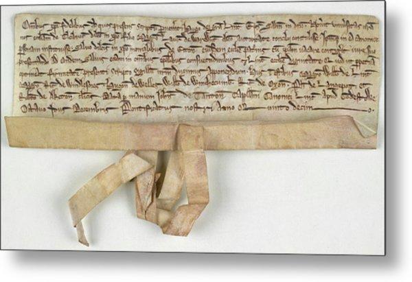 Charter Of Claybrooke Magna Metal Print