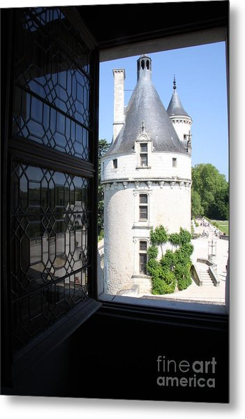 Chateau Chenonceau Tower Through Open Window  Metal Print by Christiane Schulze Art And Photography