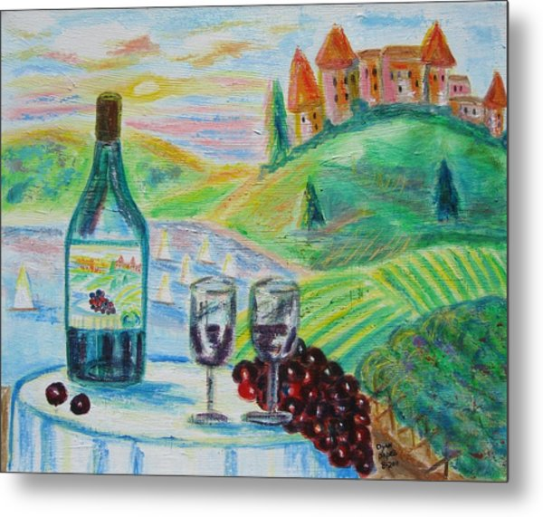 Chateau Wine Metal Print