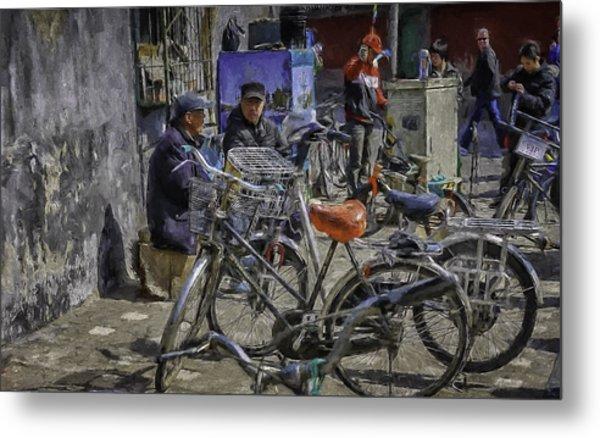 Chatting Amongst The Bikes Metal Print by Barb Hauxwell