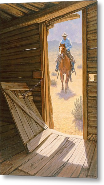Checking The Line Cabin Metal Print