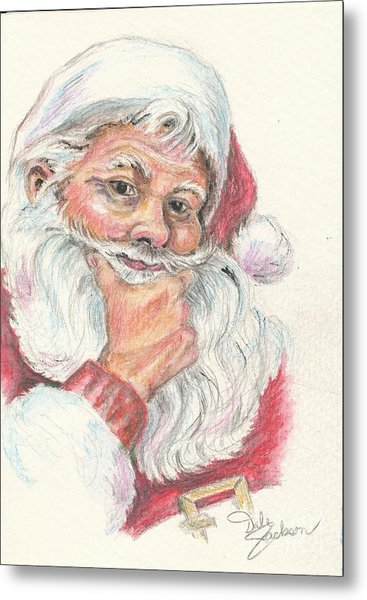 Santa Checking Twice Christmas Image Metal Print