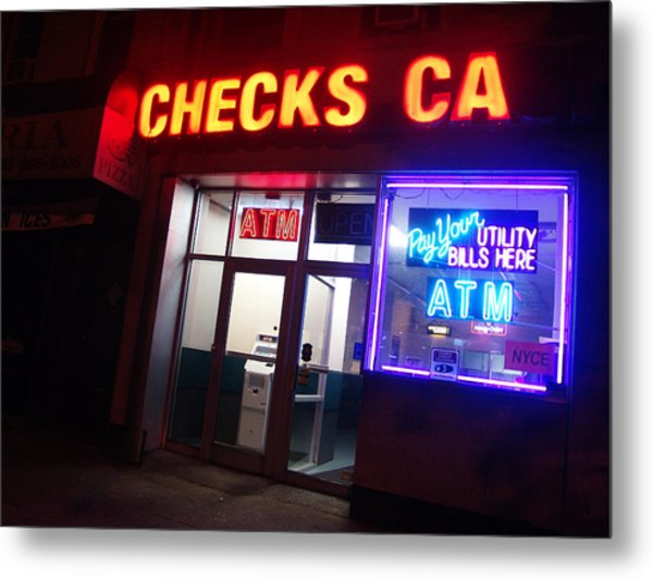 Checks Ca In Nyc Metal Print