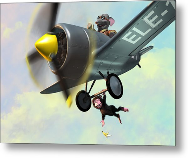 Cheeky Monkey Hanging From Plane Metal Print