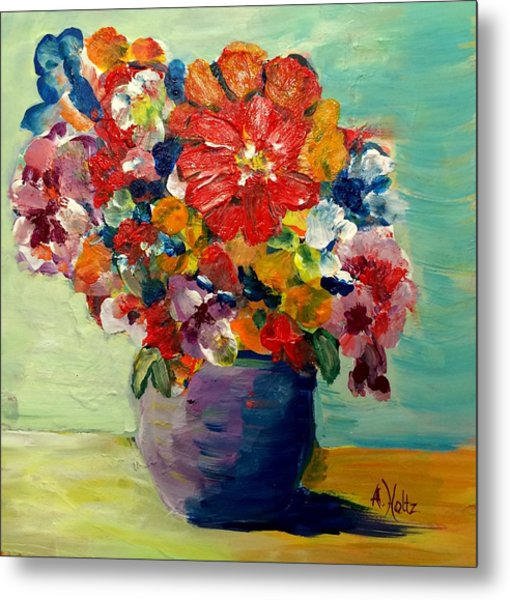 Cheerful Flowers In Pot Metal Print
