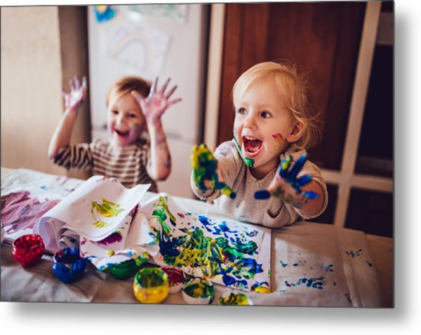 Cheerful Little Children Having Fun Doing Finger Painting Metal Print by Wundervisuals