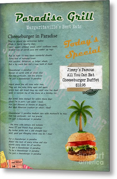 Cheeseburger In Paradise Jimmy Buffet Tribute Menu  Metal Print