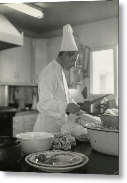 Chef Cooking At Elizabeth Arden's Maine Chance Metal Print