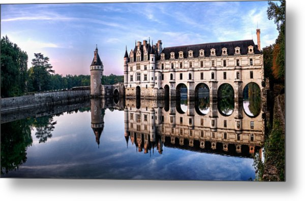 Chenonceau Castle In The Evening Metal Print