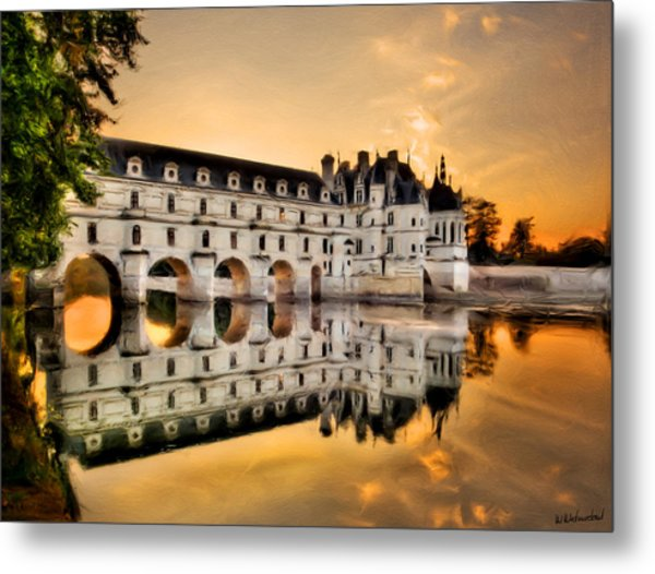 Chenonceau Castle In The Twilight Painting Metal Print