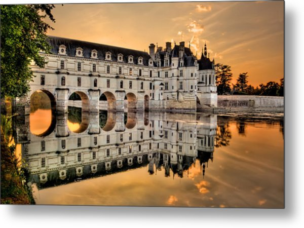 Chenonceau Castle In The Twilight Panorama Metal Print