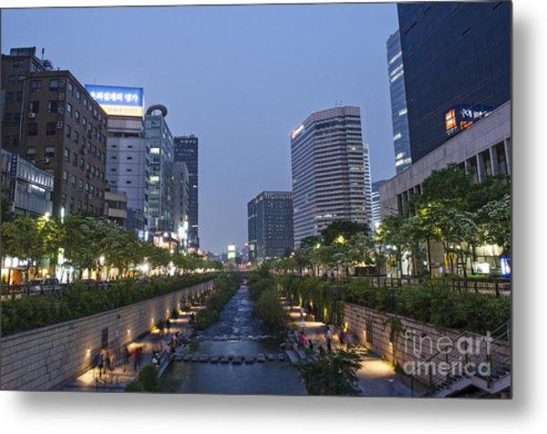 Cheonggyecheon Stream In Seoul South Korea Metal Print