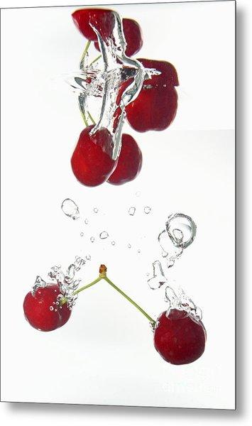 Cherries Fruits Splashing Underwater Metal Print by Sami Sarkis