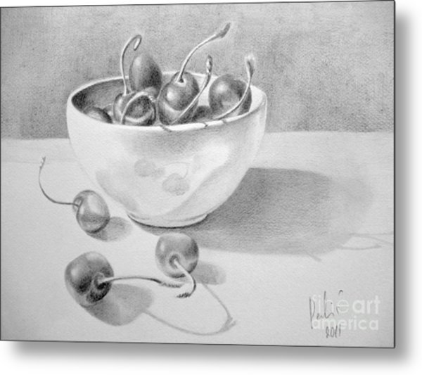 Cherries In White Bowl Metal Print