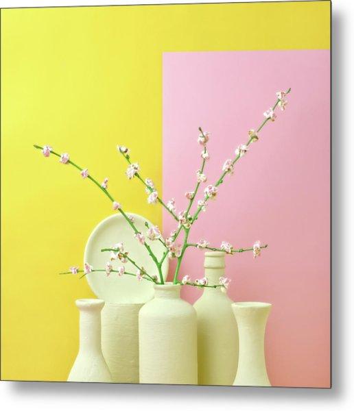 Cherry Blossom Popcorn In Monochromatic Metal Print by Juj Winn