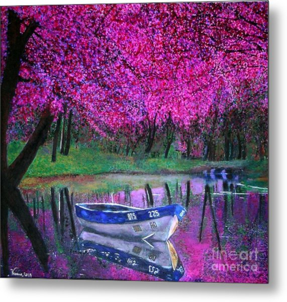 Cherry Blossoms By The Lake Metal Print