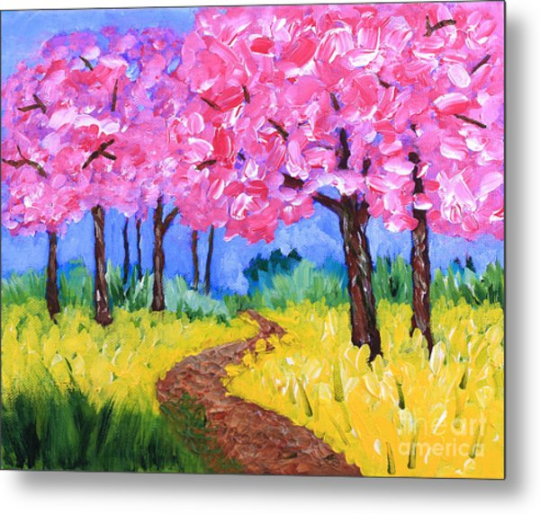 Cherry Trees And Field Mustard After The Rain Acrylic Painting Metal Print