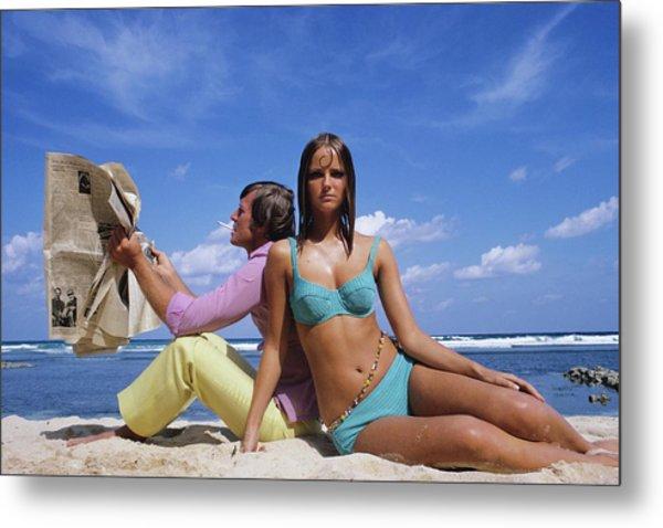 Cheryl Tiegs Modeling A Bikini At A Beach Metal Print