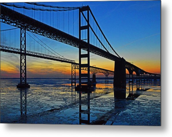 Chesapeake Bay Bridge Reflections Metal Print