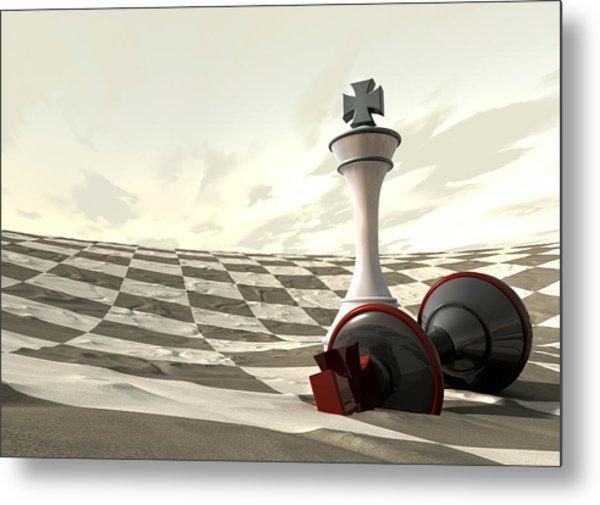 Chess Desert Game Over Metal Print