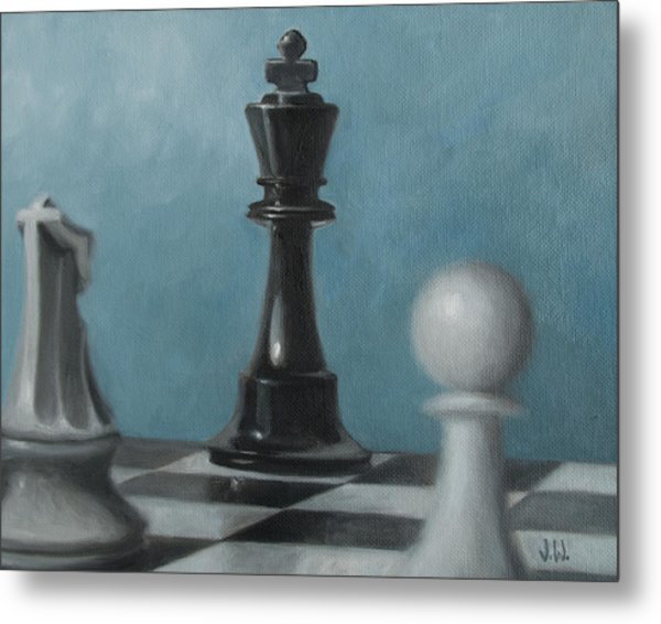 Metal Print featuring the painting Chess Pieces by Joe Winkler