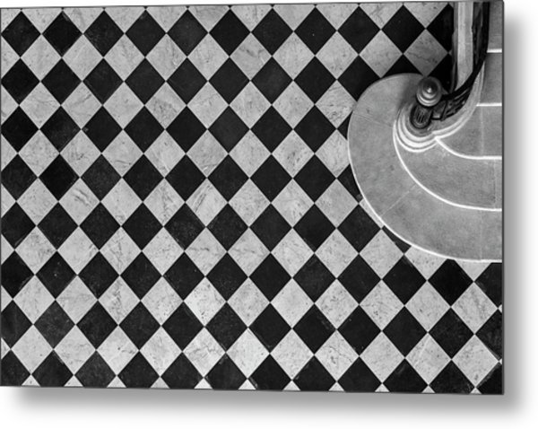 Chessboard Staircase Metal Print