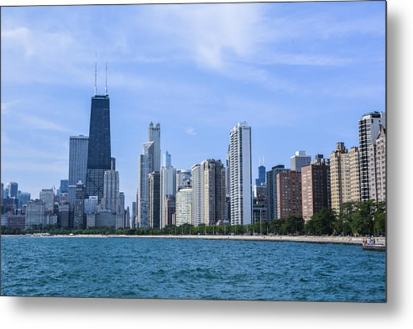 Chicago As Seen From North Ave Beach Metal Print by Michael  Bennett