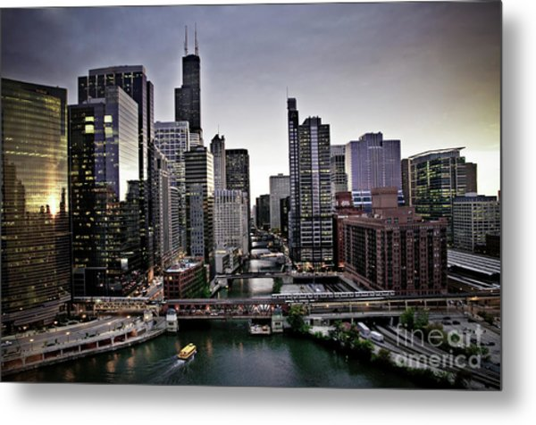 Chicago At Dusk Metal Print