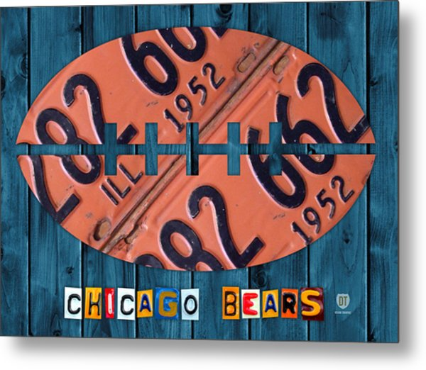 Chicago Bears Football Recycled License Plate Art Metal Print