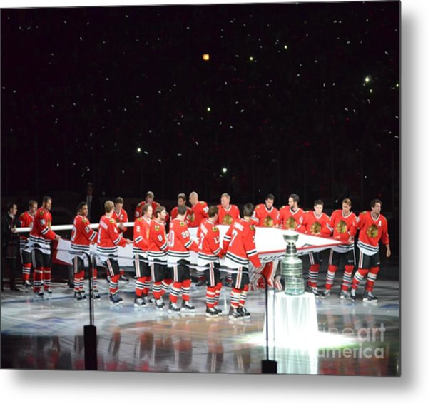 Chicago Blackhawks And The Banner Metal Print