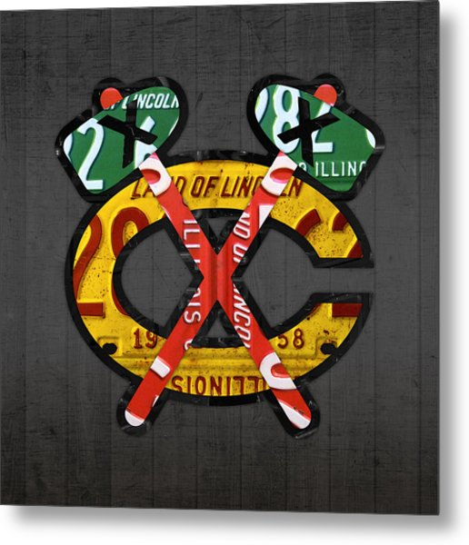 Chicago Blackhawks Hockey Team Retro Logo Vintage Recycled Illinois License Plate Art Metal Print