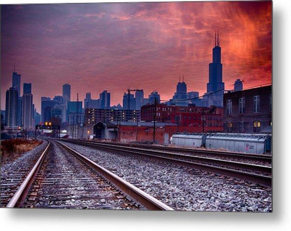 Chicago Bound 12-2-13 Sunrise  Metal Print by Michael  Bennett