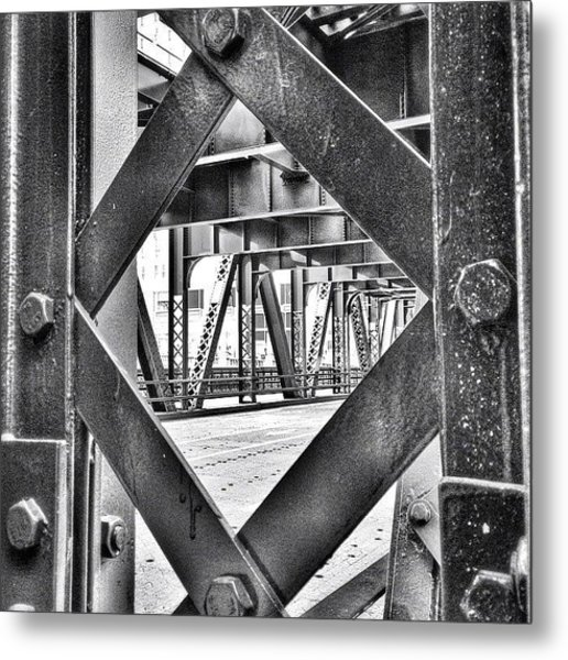 Chicago Bridge Iron In Black And White Metal Print
