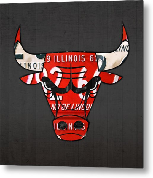 Chicago Bulls Basketball Team Retro Logo Vintage Recycled Illinois License Plate Art Metal Print