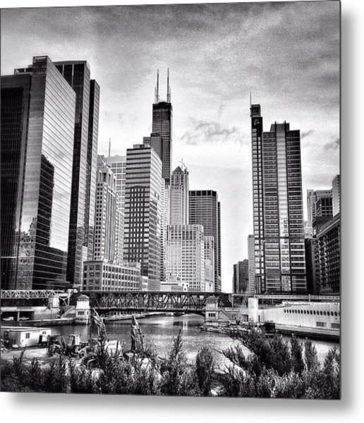 Chicago River Buildings Black And White Photo Metal Print