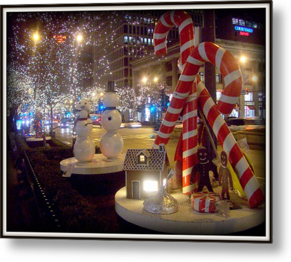 Chicago Christmas Candy Canes Metal Print