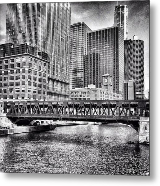 Wells Street Bridge Chicago Hdr Photo Metal Print